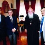 Ιούλιος 2013. Με τον Αρχιεπίσκοπο Ιερώνυμο και τον Υφυπουργό Εξωτερικών Άκη Γεροντόπουλο.